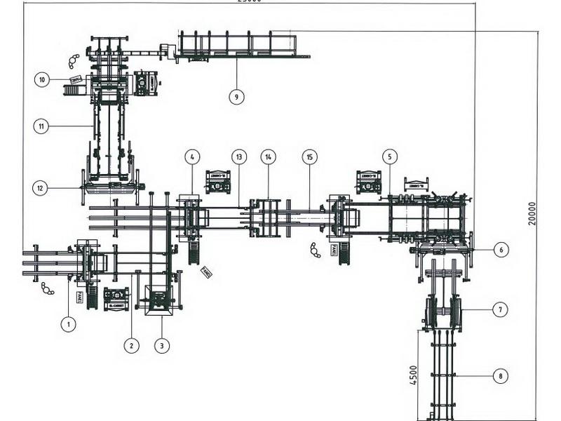3-Maschinen Kombilinie mit Klotzsäge und zusätzlicher Kufenbrettnagelmaschine