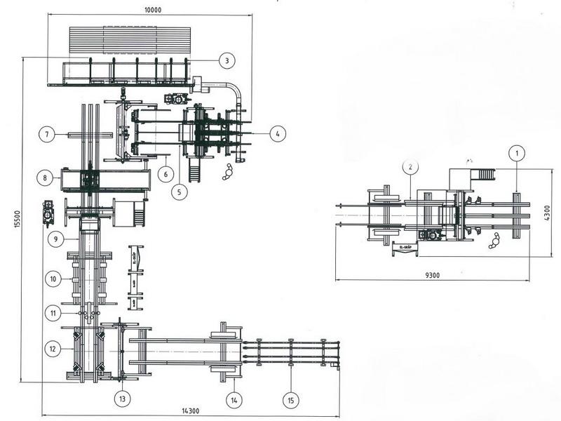 3-Maschinen Kombilinie mit extern stehender Deckmaschine